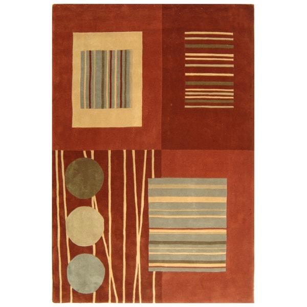 Safavieh Handmade Rodeo Drive Modern Abstract Brown/ Multi Wool Rug - 8' x 11'