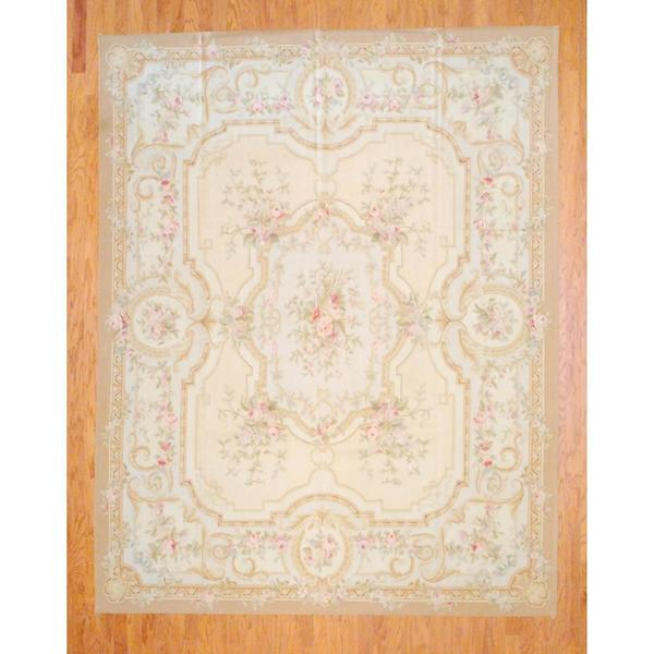 Sino Hand-woven Flat-weave Aubusson Ivory/ Beige Wool Rug (8' x 10'2)