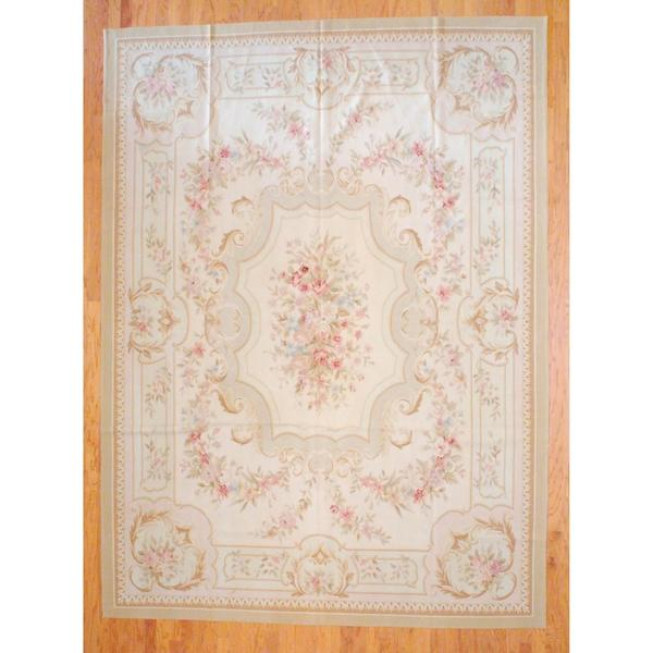 Sino Hand-woven Flat-weave Aubusson Beige/ Rose Wool Rug (9' x 12'2)