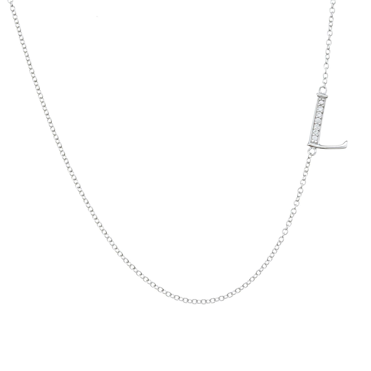 silver hover necklace sideways to initial sterling zoom