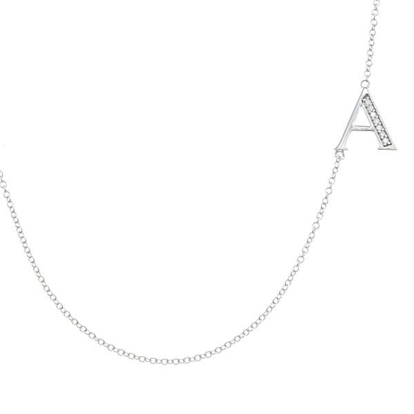 La Preciosa Sterling Silver Off-Center Sideways Initial CZ Necklace