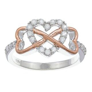 La Preciosa Sterling Silver Rose GP Heart Infinity With White Topaz Heart Center Ring