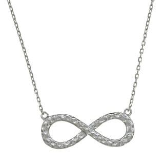 La Preciosa Sterling Silver Hammered Infinity Figure-8 Necklace
