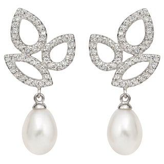 Pearlyta Sterling Silver Freshwater Pearl and CZ Drop Earrings (10-11 mm)
