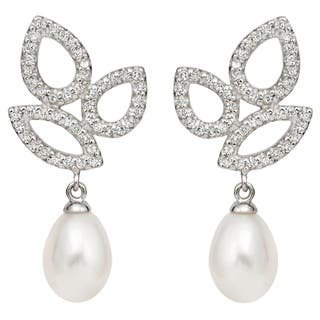 Pearlyta Sterling Silver Freshwater Pearl and CZ Drop Earrings (10-11 mm)|https://ak1.ostkcdn.com/images/products/7918313/7918313/Pearlyta-Sterling-Silver-Freshwater-Pearl-and-CZ-Drop-Earrings-10-11-mm-P15295893.jpg?impolicy=medium