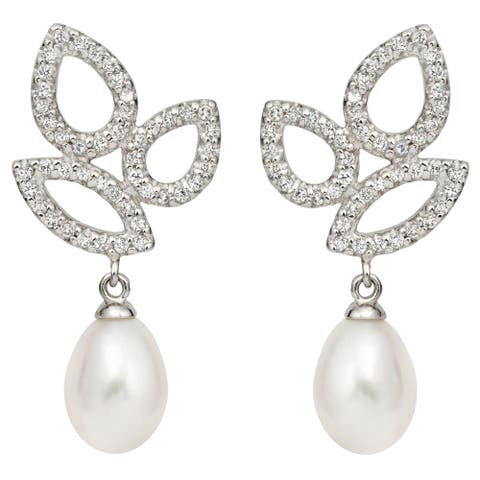Pearlyta Sterling Silver Freshwater Pearl and CZ Drop Earrings (10-11 mm) - White
