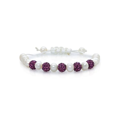 Pearlyta Children's Multicolor Crystal Freshwater Pearl Adjustable Macrame Bracelet (6 mm) - Pink