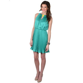 Vince Camuto Women's Sleeveless Pleated Front Keyhole Dress