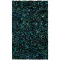 Safavieh Handmade Decorative Rio Shag Green/ Blue Area Rug - 4' x 6'