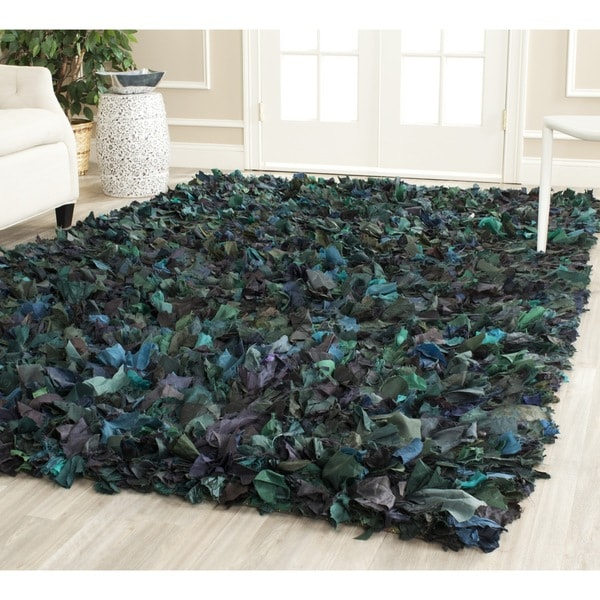 Safavieh Handmade Decorative Rio Shag Green/ Blue Area Rug (4u0026#x27; X