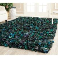Safavieh Handmade Decorative Rio Shag Green/ Blue Area Rug - 5' x 8'