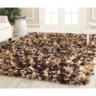 Safavieh Handmade Decorative Rio Shag Brown/ Multi Rug (6' Square)