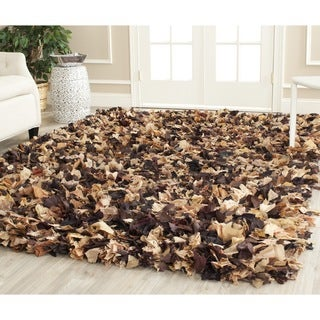 Safavieh Handmade Decorative Rio Shag Brown/ Multi Rug (8' Square)