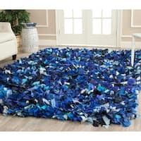 Safavieh Handmade Decorative Rio Shag Blue/ Multi Area Rug - 6' x 9'