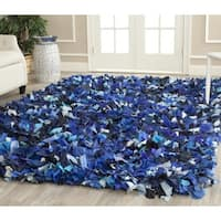 Safavieh Handmade Decorative Rio Shag Blue/ Multi Rug - 6' Square