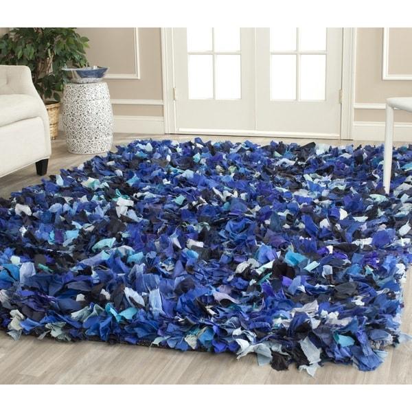 Safavieh Handmade Decorative Rio Shag Blue/ Multi Area Rug - 8' x 10'