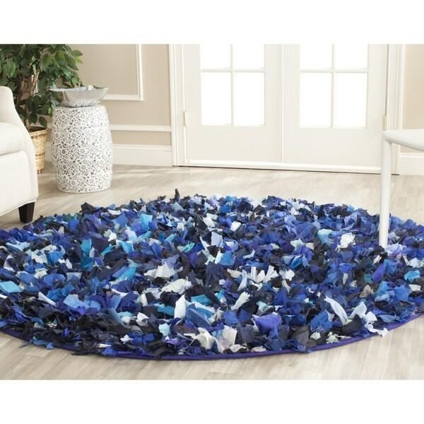 Safavieh Handmade Decorative Rio Shag Blue/ Multi Rug (4' Round)