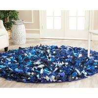 Safavieh Handmade Decorative Rio Shag Blue/ Multi Rug - 6' Round