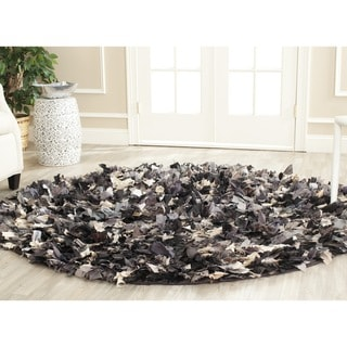 Safavieh Handmade Decorative Rio Shag Grey/ Multi Rug (4' Round)