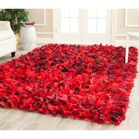 Safavieh Handmade Decorative Rio Shag Red/ Multi Area Rug - 6' x 9'