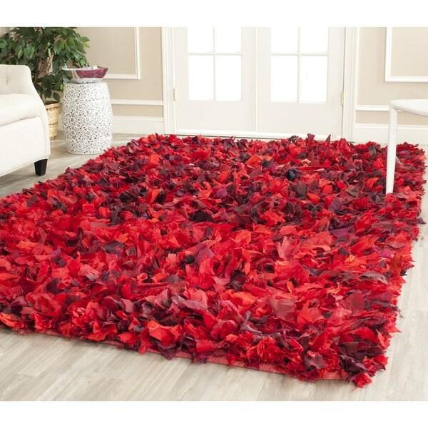 Red And White Checkered Rug: Safavieh Handmade Decorative Rio Shag Red/ Multi Area Rug