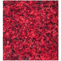 Safavieh Handmade Decorative Rio Shag Red/ Multi Rug - 6' x 6' Square