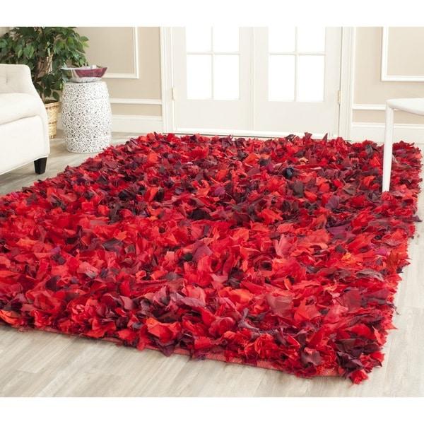 Safavieh Handmade Decorative Rio Shag Red/ Multi Rug (8' Square)