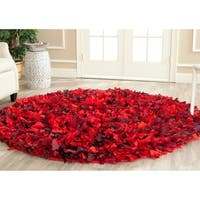 Safavieh Handmade Decorative Rio Shag Red/ Multi Rug - 6' Round