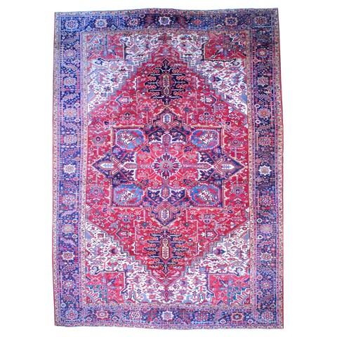 Handmade Herat Oriental Persian 1950s Semi-antique Heriz Wool Rug - 11'4 x 16' (Iran)