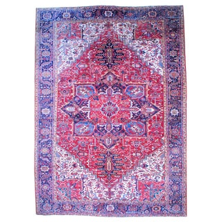 Herat Oriental Antique Persian Hand-knotted 1950s Heriz Wool Rug (11'4 x 16')