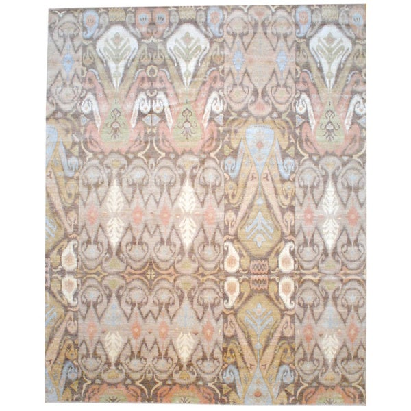 Vegetable Dyed Hand Knotted Floral Oushak Ivory Persian: Shop Herat Oriental Afghan Hand-knotted Vegetable Dye Ikat