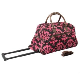 World Traveler Designer Prints Fleur-De-Lis 21-inch Carry-on Rolling Upright Duffel Bag (Option: Brown/Pink)
