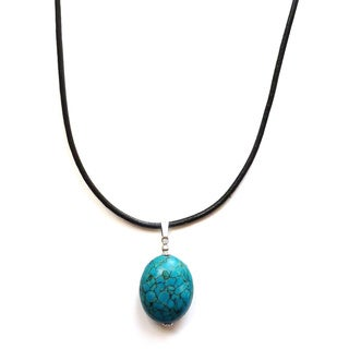 Every Morning Design Blue Turquoise Pendant on Leather Cord