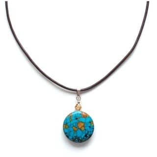Every Morning Design Round Turquoise Pendant on Leather Cord