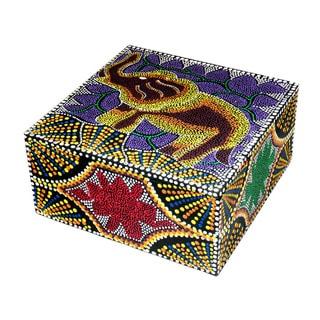 6-inch Dot Elephant Design Aboriginal Box, Handmade in Indonesia