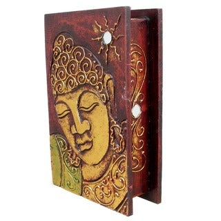 Hand-carved 8-inch Buddha Decorative Book-style Box (Indonesia)