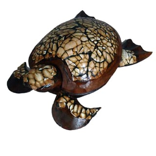 "Handmade 8"" Wood Sea Turtle Figurine (Indonesia)"
