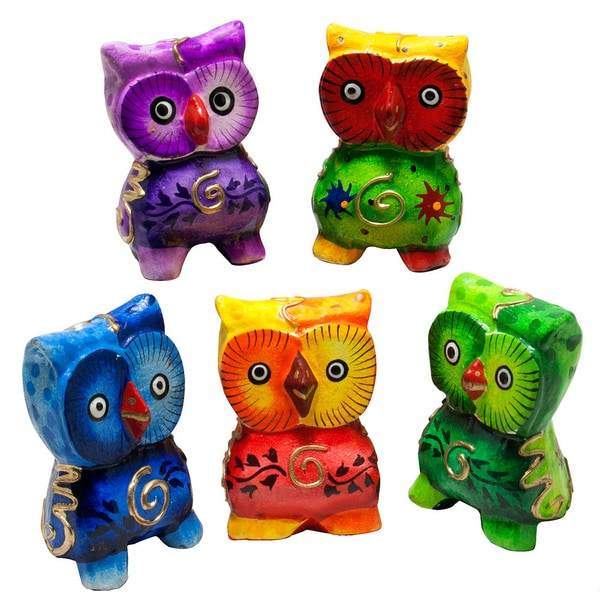 Handmade Multicolor Owl, Set of 5 (Indonesia)