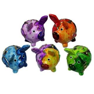 Handmade Multicolor 5-piece Pig Set (Indonesia)
