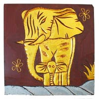 Hand-Carved 'Elephant with Baby' Wall Panel, Handmade in Indonesia
