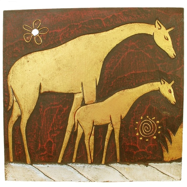 Hand-Carved 'Giraffe with Baby' Wall Panel, Handmade in Indonesia