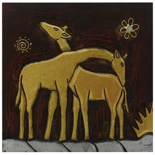 Hand-Carved 'Giraffe Pair' Wall Panel, Handmade in Indonesia