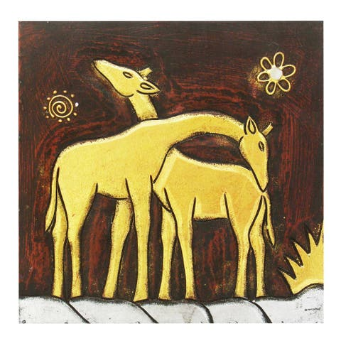 Hand-Carved 'Giraffe Pair' Wall Panel, Handmade in Indonesia