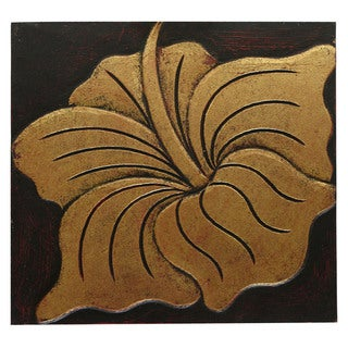 Hand-Carved 'Puc-Flower' Wall Panel, Handmade in Indonesia