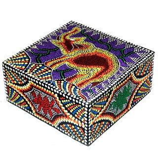 Handmade 'Elephant' Aborigine Dot Art Box (Indonesia)