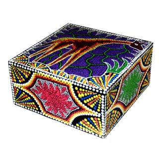Aborigine Dot Art Giraffe Design Box, Handmade in Indonesia