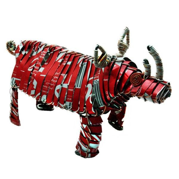 """Handmade Tin Can Rhino - 4"""" x 6"""" x 2"""" (Kenya)"""