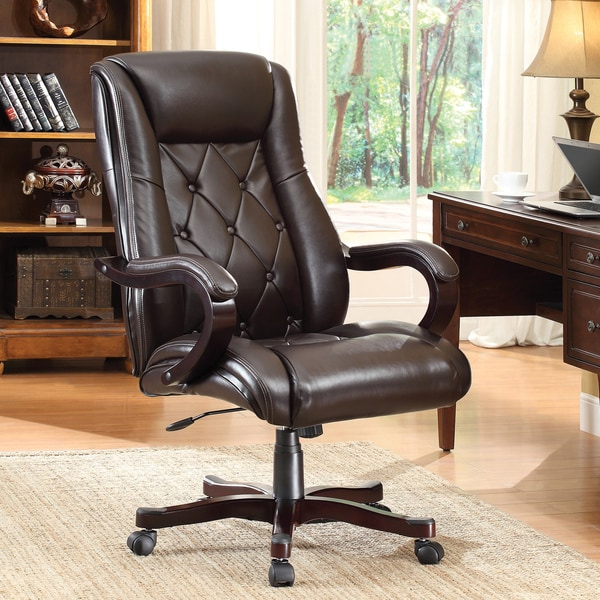 Inspired By Bassett Chapman Espresso Faux Leather Executive Chair