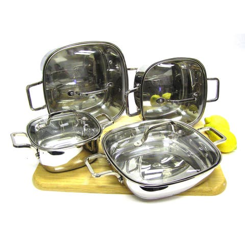 8-piece Heavy Duty Stainless Steel Unique Square Cookware Set