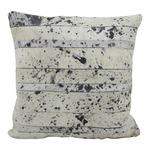 Mina Victory Natural Leather and Hide Acidwash Stripe Silver Throw Pillow (20-inch x 20-inch) by Nourison